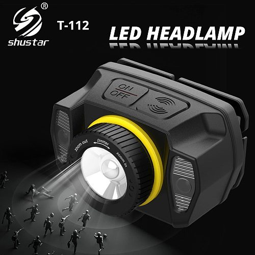 Super Bright XPG LED Headlamp with Infrared Sensor Rotatable Zoom Headlight Built-in Rechargeable Lithium Battery for Expedition