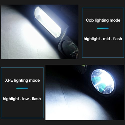 LED Headlamp Q5+COB Double switch Portable mini heading light 3 modes built-in USB Rechargeable battery headlight night fishing