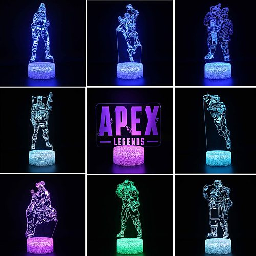 APEX Legends Hero Red Dead Redemption 2 Figure Anime Night Light for Children 3D Acrylic LED Nightlamp Illusion Table Lamp Gifts