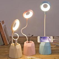 LED Desk Lamp USB Charging Port Lamp Foldable Read Light Pen Storage Holder Phone Bracket Dimmable Touch Table Lamp Office Light
