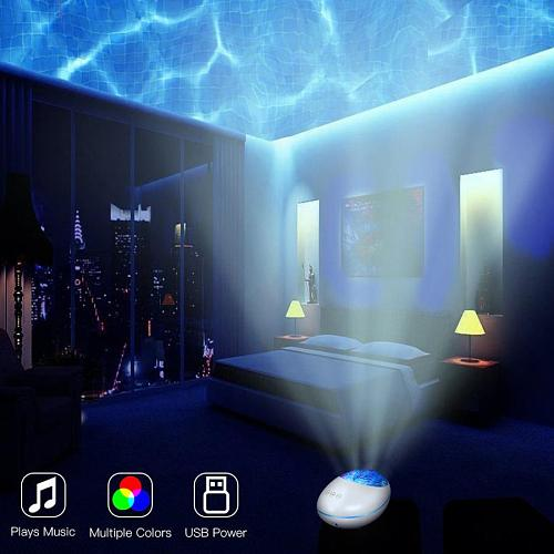 DC 5V Ocean Wave Projector LED Galaxy Starry Sky Night Light Music Player Remote Control Star Colorful Rotating Projection Lamp