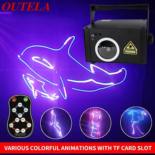 OUTELA Stage Lighting Effect LaserDj Christmas Light Customizable  Words Pattern Animation Full Color 3D Remote Control