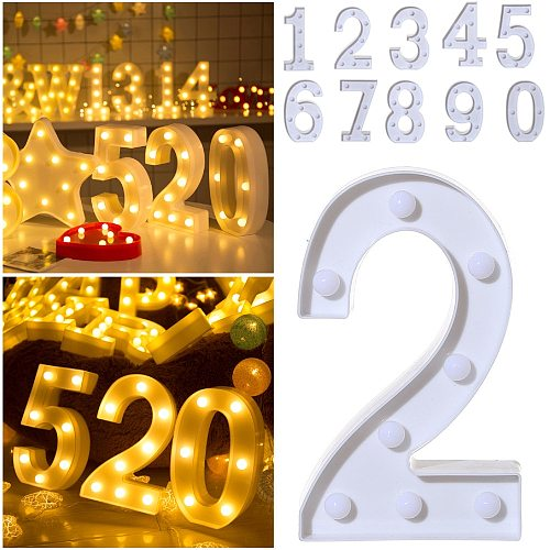 Gold Luminous Number LED Letter Night Light Alphabet Number Lamp Christmas Wedding Birthday Party Propose Decoration Lights