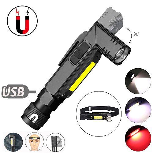 Handfree USB Rechargeable LED Flashlight Magnet 90 DegreeTwist Rotary Clip 5 Models High Brightness Portable Work Lamp