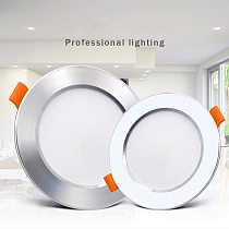 Ultra Thin Downlight Aluminum Recessed Led Downlight Silver White-Silver 3W 5W 7W 9W AC220V Led Ceiling Lamp Spot Led Lighting