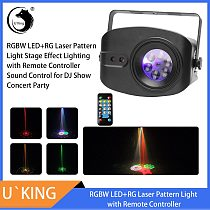 U'King USB Rechargeable Stage Lighting Effect Remote Controller RG Laser+RGB+UV LED 6-Hole Auto Sound Control for DJ Club Party