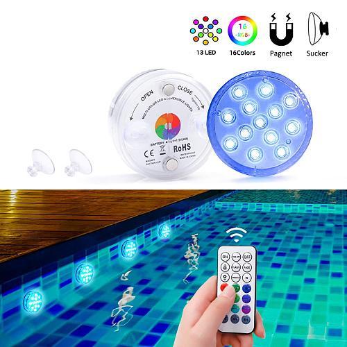 RF Remote Control 13 LEDs Underwater Light RGB IP68 Waterproof Swimming Pool Light Wireless Submersible Lights For Pond Aquarium