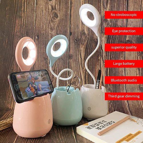LED Desk Lamp Multifunctional Bluetooth Sound Night Light Reading Eye Protection Table Lamp Bedroom Bedside Lamp Music Lgihts