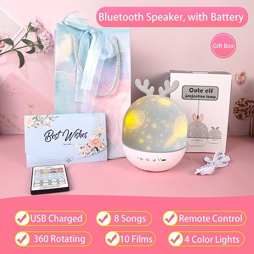 Kids Star Night Light Rotating Starry Sky Projector Colorful Music Bedside Lamp Rechargeable Bedroom Night Lamp Kid Baby Gift