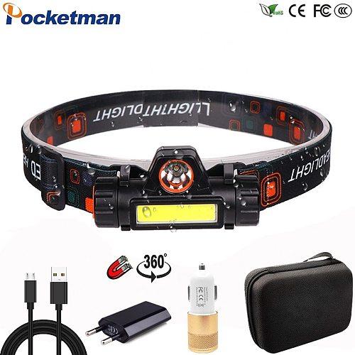 Portable mini Powerful LED Headlamp XPE+COB USB Rechargeable Headlight Built-in Battery Waterproof Head Torch Head Lamp