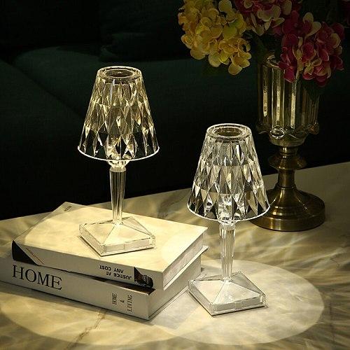 USB Diamond Table Lamp Acrylic Decoration Light for Bar Bedroom Bedside Coffee Crystal LED Desk Lamps Gift Night Lights Lighting