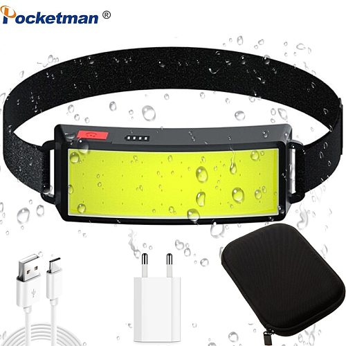 30000LM Strong Power COB LED Headlight USB Rechargeable Headlamp Portable Waterproof Head Lamp Built-in Battery Head Light