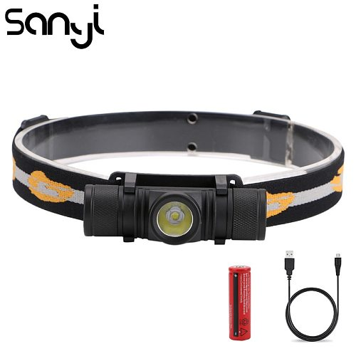 1*XML-L2 Headlight Power by 18650 Battery Headlamp USB Rechargeable 6 Modes Flashlight Head for Camping Warm Light Night Fishing