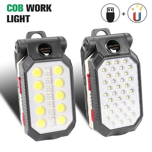 Multifunctional USB Rechargeable COB Work Light Portable LED Flashlight Adjustable Waterproof Camping Lantern Magnet Design
