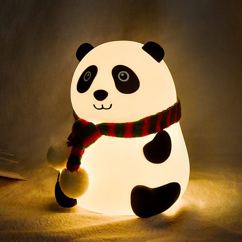 Panda LED Night Light Touch Sensor Colorful Cartoon Silicone Lamp Battery Powered Bedroom Bedside Lamp for Children Kids