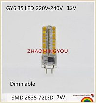 DIMMABLE GY6.35 G4 LED Lamps 12V 220V 7W Corn Light Bulb Droplight Chandelier 2835SMD G6.35 Led Bombillas Lamp