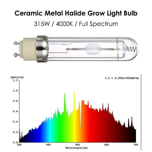 110V Ceramic Metal Halide Grow Light 315W 3000K 4000K Horticultural Plants Growing Bulbs Full Spectrum CMH Lamp Bulb for Garden