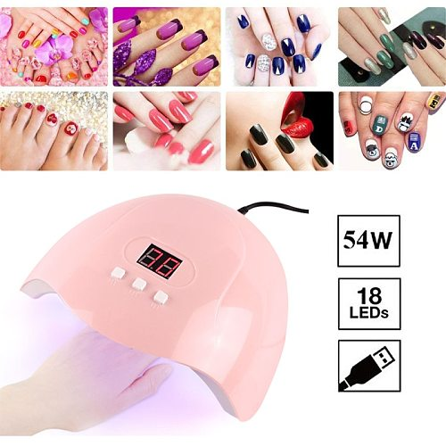 Nail Dryer 54W LED Nail Lamp UV Lamp For Curing All Gel Nail Polish With Motion Sensing Manicure Pedicure Salon Nail Dryers Tool