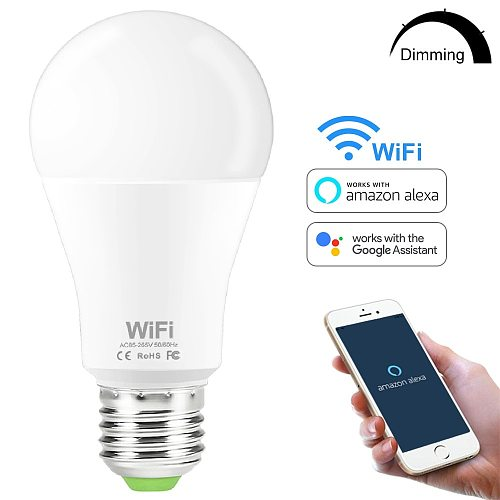 15W Smart WiFi Light Bulb E27 B22 Dimmable LED Lamp APP Smart Wake up Night Light Compatible with Amazon Alexa Google Home