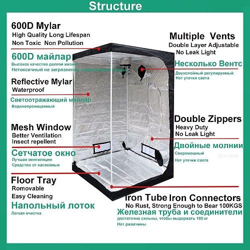 BEYLSION Grow Tent Hydroponics Tent Grow Light Parts Grow Box Dark Room Mylar For Growing Greenhouse Indoor Plant +Rope Ratchet