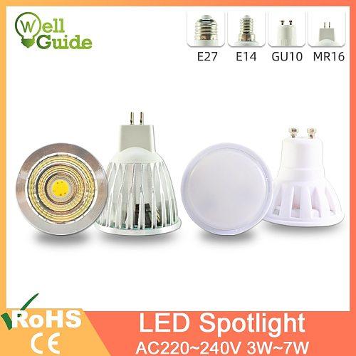 LED Lamp GU10 MR16 E27 E14 LED Spotlight 3W 5W 6W 7W AC 220V 240V Lampada aluminum  COB SMD led bulb Energy Saving Home Lighting