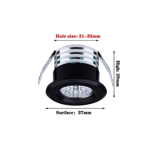 Silvery/Black/White/Golden Mini LED Downlights 3W 100V-240V Jewelry Display Ceiling Recessed Cabinet Spot Lamp