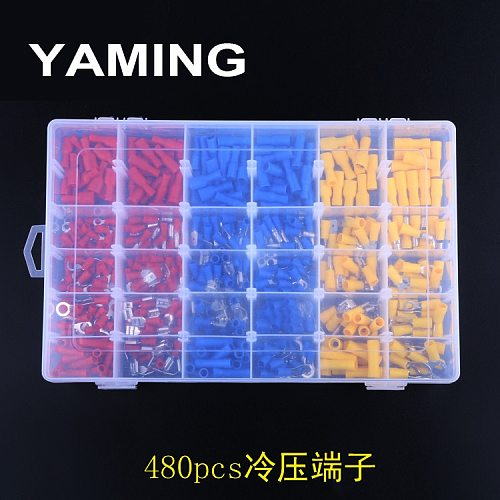 480pcs/BOX Group Combine Boxed Terminal Cold Pressure Electrical Wire Crimp Kit Insulated Spade Butt Connectors Assorted Set