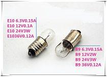 Flashlight bulb B9 6.3V0.15A indicator E10 12V0.1A small lamp beads E10 24V3W signal light bead B9 bayonet light 10pcs/lot