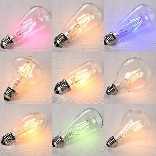 LED filament light bulb E27 screw retro warm color energy-saving light bulb restaurant color decorative light bulb