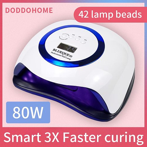 Gel dryer lamp with 42 Pcs Leds For Manicure Gel Nail Dryer Drying Nail Polish Lamp 30s/60s/90s Auto Sensor Manicure Tools