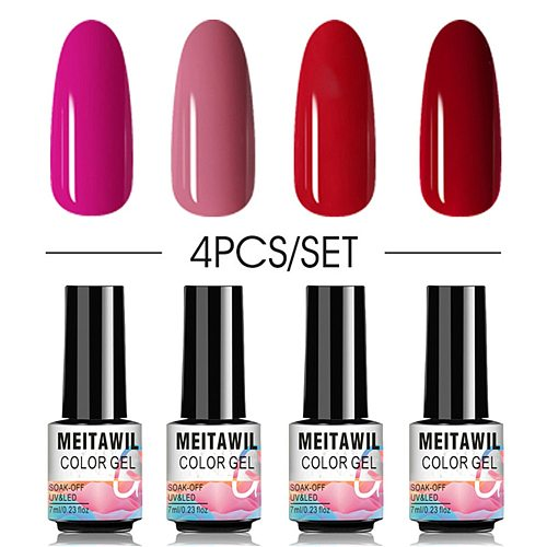 7ml Gel Nail Polish Glitter 4Pcs Manicure Set Semi UV LED Lamp Nail Varnishes Base Top Coat Gel Lacquer Art Nail
