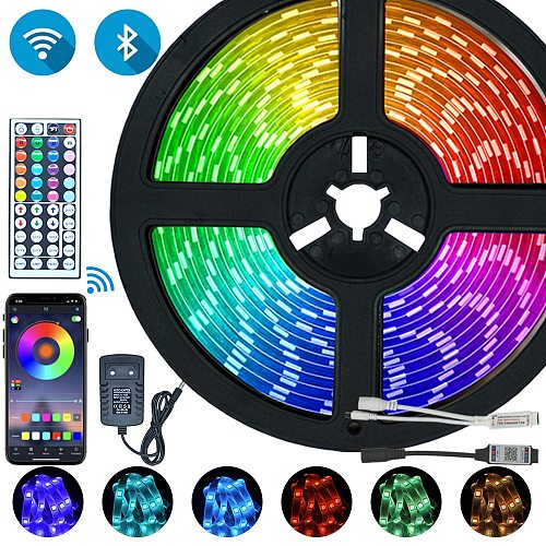 LED Strips Lights Bluetooth Iuces RGB 5050 SMD 2835 Waterproof WiFi Flexible Lamp Tape Ribbon Diode DC12V 5M 10M 15M 20M Color