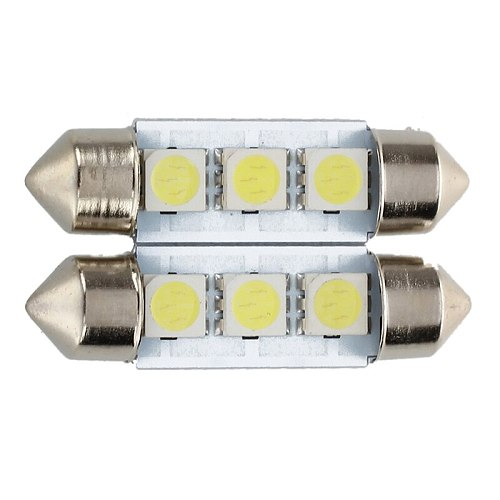 2x C5W 3 LED SMD 5050 36mm Xenon White Bulb plate shuttle Festoons e ceiling lamp  light