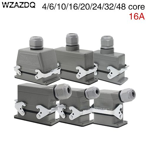 Rectangular heavy duty connector hdc-he-4/6/10/16/20/24/32/48 core waterproof aviation plug top line and lateral line 16A
