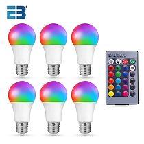 Smart Lamp E27 10W 15W AC 85-265V Led Bulb Color Change Dimmable RGB Light Bulb with Remote Control Led Lampada Decor Home