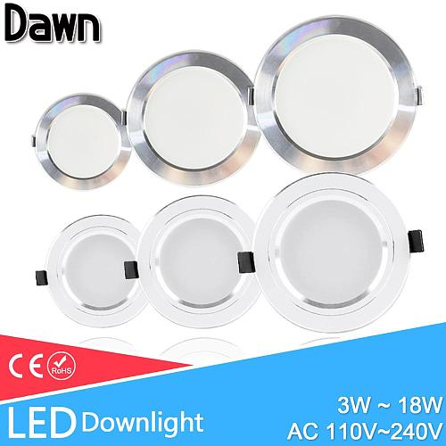 LED Spot Light 5W 9W 15W 18W Silver White Ultra Thin AC 110V 220V Round Recessed LED Downlight LED Spot Lighting 12W