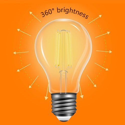 220V 240V LED Edison Bulb Dimmable E27 A60 Glass Housing Lamp Antique Retro Vintage Edison LED Filament Light Lamp 2W 4W 6W 8W