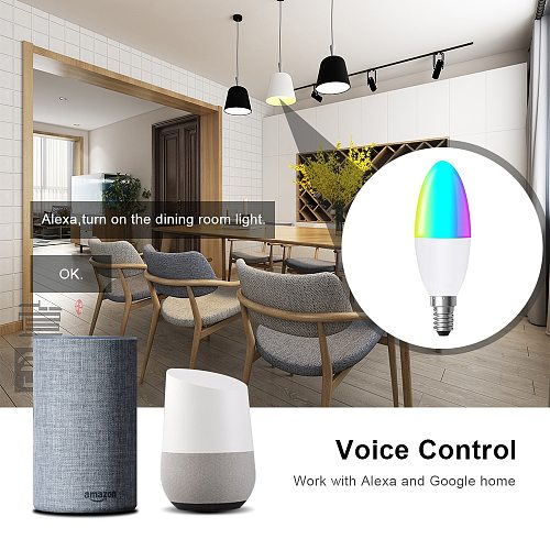 AVATTO Tuya 5W WiFi Smart Candle Bulb with Smart Life APP Remote, RGB Led Lamp Bulb Dimmable, Voice Works with Alexa,Google Home