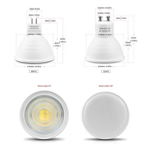 220V 7W GU10 MR16 LED Spotlight Non-Dimmable LED Bulb lamp Downlight Plastic Aluminum Cool Spot light Table Ceiling light