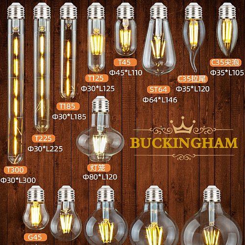 Vintage LED Edison Bulb E27 Retro Edison Lamp Filament Bulbs T45 T300 A60 ST64 G45 G80 G95 C35 2700K Retro LED Light Decor