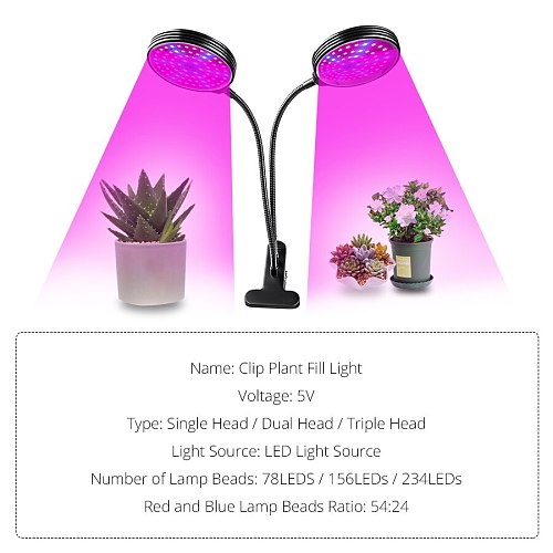 DC5V USB LED Grow Light Full Spectrum Fitolampy Clip-on Phyto Lamp for Plants Flowers Indoor Grow Tent Box Fitolamp Plant Light