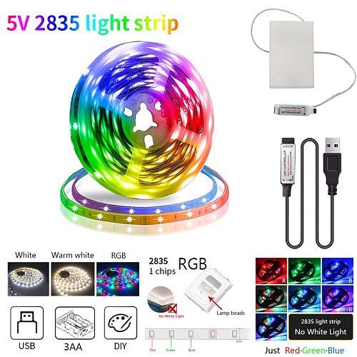 3AA Battery Power Led Strip Light SMD2835 5V 5M Flexible Lighting Ribbon Tape RGB/White/Warm White Strip TV Background Lighting