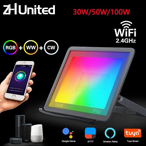 30W 50W 100W Spotlight IP66 Smart Floodlights Led Garden Stage WiFi Smart APP RGB Color Warm Cool light Work Alexa Google TUYA