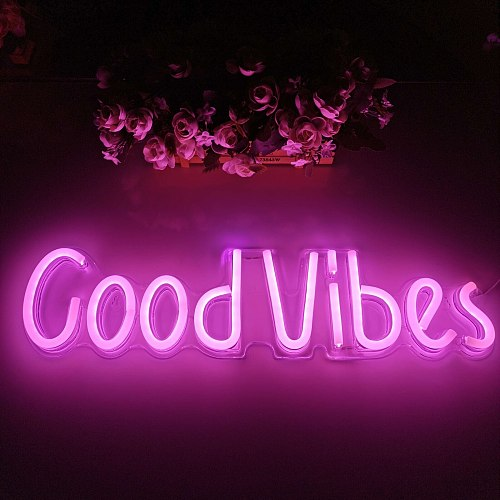 Neon Sign Light Led Good Vibes Letter Neon Lamp Tube For Bar Ktv Snack Shop Game Room Bedroom Party Wall Decoration