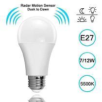 1Pcs E27 LED White Smart Sensor PIR Sensor Bulb 5W 7W 9W 12W Light Bulb  Auto Sensitive Lights