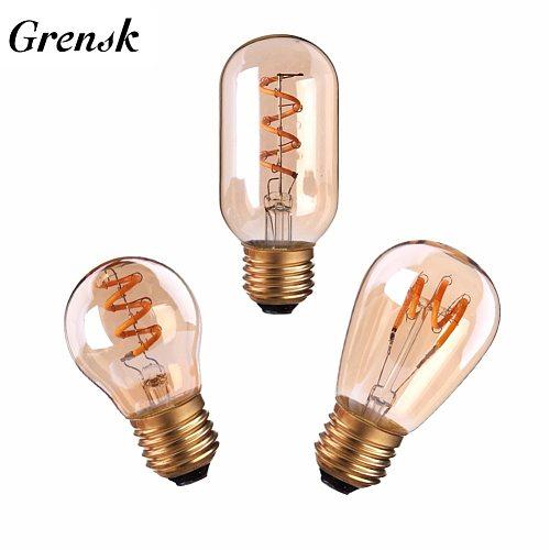 Grensk Spiral Edison Led Bulb Flexible  Amber Tint Retro Led Lamp Light Bulbs Vintage E27 2200k LED Dimmable Lighting G45 T45
