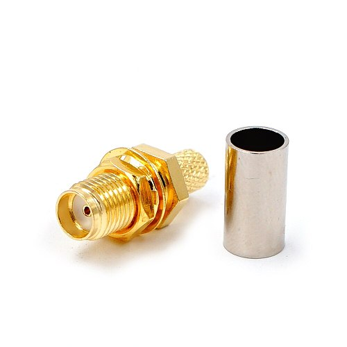 10PCS SMA Female Adapter RF Connector SMA Female Jack Crimping for RG58 RG142 RG400 LMR195 Cable Wire SMA Connector Adapter