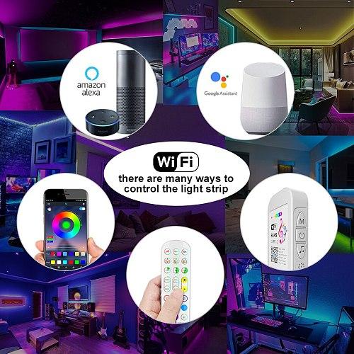 WIFI 5050 RGB LED Strip Light 10M 15M  luces led Waterproof Diode Tape 2835LED Strip Ribbon Adapter LED lights Phone APP Remote