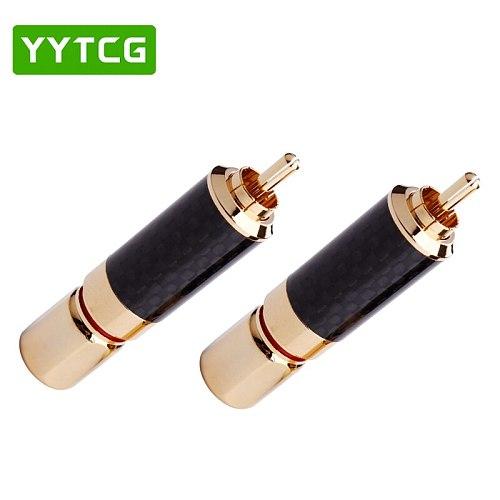 4 PCS HIFI RCA Plug High Quality Carbon Fiber 24k Gold-plated RCA Connectors