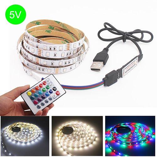 5V USB LED Strip Light 1M 2M 3M 4M 5M Warm White / White / RGB 2835 TV Background Lighting Decoracion Fairy Lights 3 Key Control